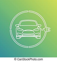 Electric Eco Car Charging Station Icon