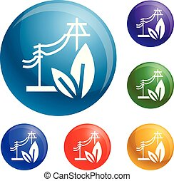 Electric eco energy icons set vector
