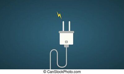 Electric energy in plug HD animation - Electric energy High...