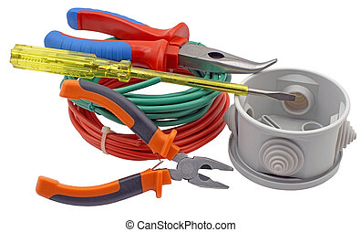 Electric equipment on white