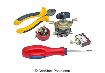 Electric equipment on a white background