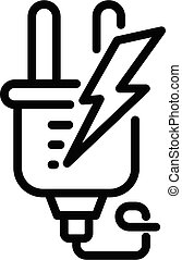 Electric europe plug icon, outline style