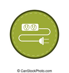 electric extension cord cable and plug green circle