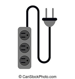 electric extension cord cable and plug three outlets