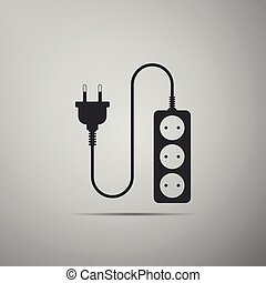Electric extension cord icon isolated on grey background. Power plug socket. Flat design. Vector Illustration