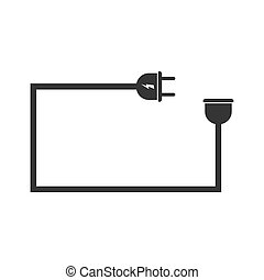 Wire plug and socket isolated. Vector black icon. Electric extension cord in flat design