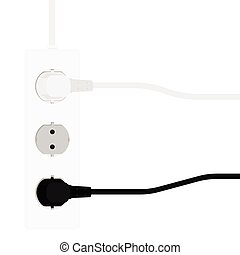Electric extension cord. Vector illustration.