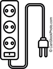Electric extension cords icon, outline style