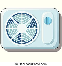 Electric fan. Air conditioning for home, climate equipment isolated on white background. Vector cartoon close-up illustration.