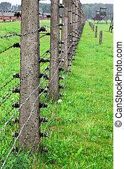 electric fence detail of  birkenau, auschwitz