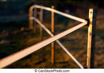 Electric fence in evening light - Electric fence in rural...