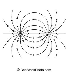 image of Electric field of a positive and a negative point charge