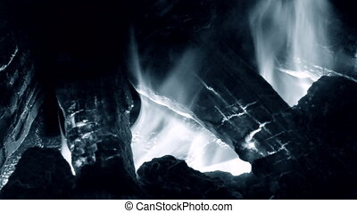 Electric fireplaces with built-in evaporator converts water into steam, which simulates smoke close-up. Model with 3D effect. Modern smart ecological alternative technologies. Energy saving innovation