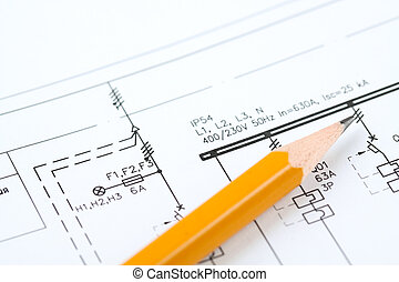 electric fundamental scheme with yellow pencil. Background