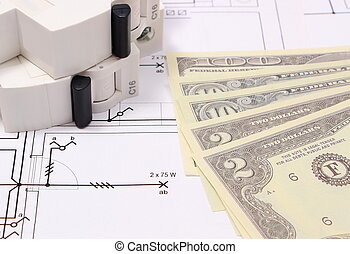 Electric fuse and money on electrical drawing, energy concept
