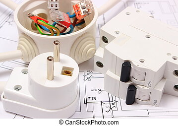 Electric fuse and plug, electrical box on construction drawing