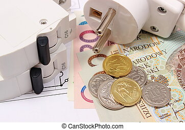 Electric fuse and plug, money on electrical drawing, energy concept