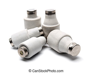 Electric fuses - Classic electric fuses on a white...