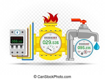 Electric gas water meter counter icons and debt amount on white transparent background. Energy metering symbols