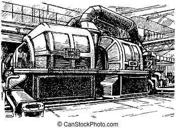 Electric generator at a factory