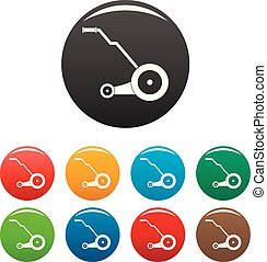 Electric grass cutter icons set color