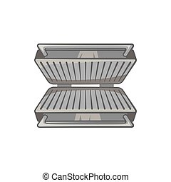 Electric grill icon, black monochrome style