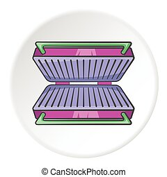 Electric grill icon, cartoon style