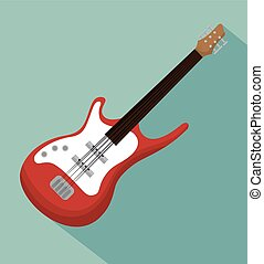 electric guitar acoustic instrument icon vector illustration
