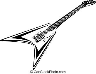 Electric guitar - Black and white electric guitar isolated...