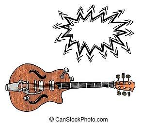 electric guitar Cartoon image - Cartoon image of electric...