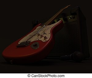 electric guitar - A 3D render of an electric guitar