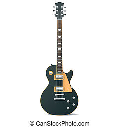 Electric guitar - Detailed vector illustration of a black ...