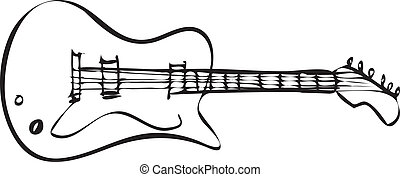 Electric Guitar Doodle - Vector illustration of electric...