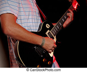 Electric Guitar during performance - music band