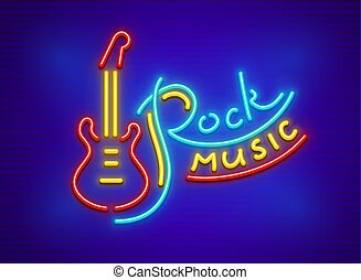 Electric guitar for rock music neon sign