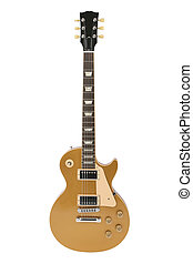 Electric guitar (Gibson Les Paul gold top), logo removed, isolated on white, clipping path included.