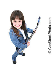 Electric Guitar Girl - Seven year old girl standing with an...