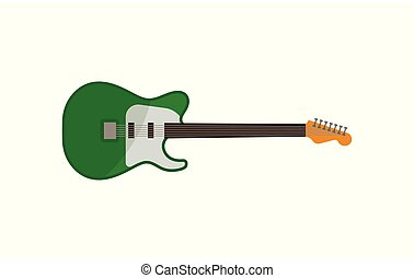 Electric guitar, green rock music instrument vector Illustration on a white background