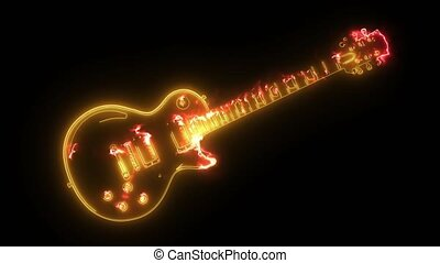 Electric guitar icon. digital animation - Electric guitar...