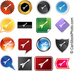 Electric Guitar Icon - Electric guitar icon isolated on a...
