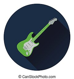 Electric guitar icon. Flat design. Vector illustration.