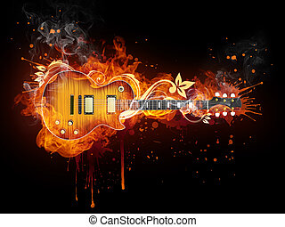 Electric Guitar in fire Isolated on Black Background. ...
