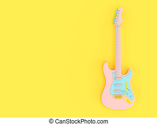 electric guitar in solid colors pink, blue and yellow on a yellow background.