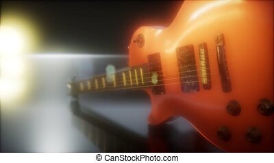 electric guitar in the dark with bright lights