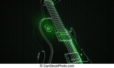 electric guitar in the hologram with bright lights
