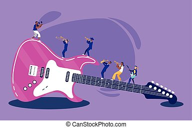 Electric guitar instrument and musicians vector design