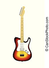 Electric guitar isolated on white
