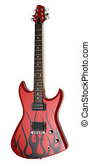 Electric guitar isolated over white