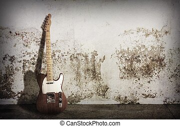 electric guitar on grunge scene