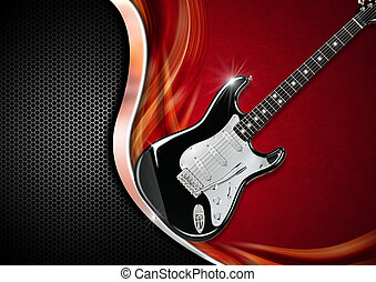 Electric Guitar on Luxury Background - Electric Guitar on...